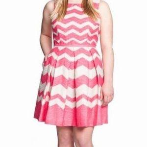 Eloquii Pink Chevron Dress